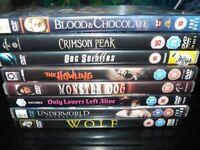 8 HORROR DVDs, horror films, horror movies, werewolves, vampires