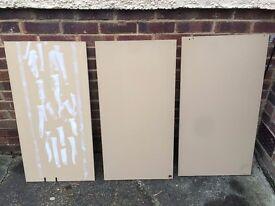 3 x Conti Board Wood Shelf Melamine Chipboard MFC Cream 96.5 x 49 x 1.5cm