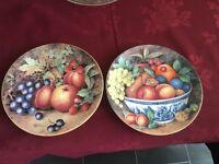 Pair Royal Worcester fruit plate