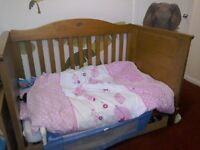 Price lowered...must sell! Boori cotbed with custom made under bed drawer.