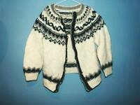 Vintage thick fairisle knitted cardigan L