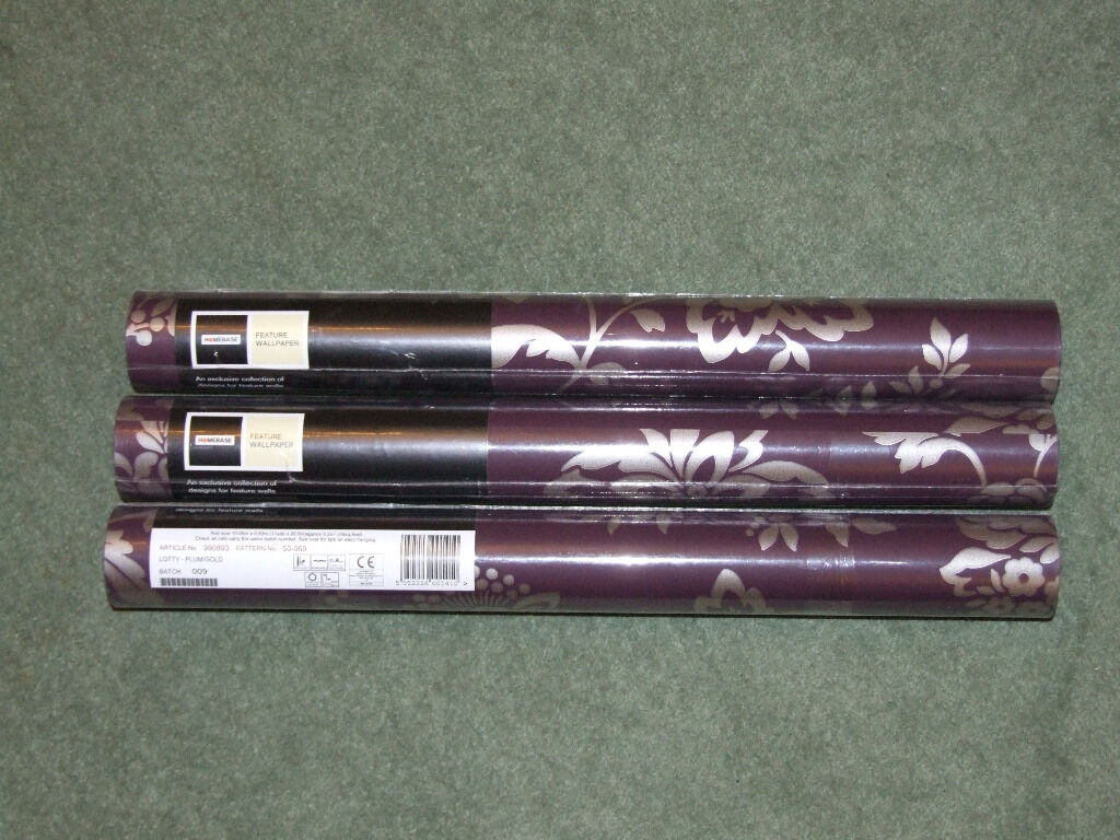 3 X Rolls Of Homebase Lotty Plum Wallpaper With Gold Floral
