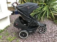 Excellent Condition Phil and Teds sport all terrain double buggy / pushchair in Black with auto stop