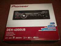 Pioneer car radio stereo Cd Mp3 USB Player with Rear Aux-In - Model DEH-4000UB