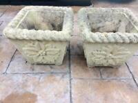 Concrete square plant pots