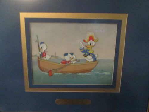 Disneyana-Vintage Promo Cel-1939-Sea Scouts-Donald Duck & Nephews-framed