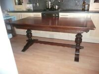 Vintage Solid Oak Dining Table, Refectory Table