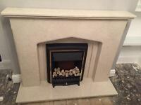 Marble Fireplace and Fire
