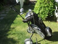 BAYHILL GOLF CLUBS IN BAG WITH TROLLEY MENS RIGHT HAND