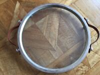 Glass cheese board with silver plated rim