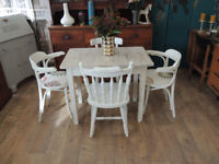 Unique one off retro farmhouse style dining set with 4 chairs