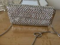 Jacques vert heavy beaded silver bag