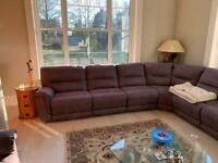 Grey suede large 8 seater corner sofa with electric recliners on ends