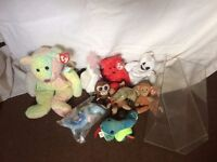 job lot of ty beanie babies and a collectors box