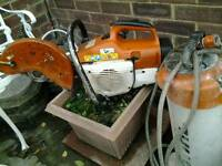 Stihl ts400 cut off saw and water bottle