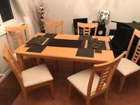 Solid Hardwood Beech Table and Six Chairs
