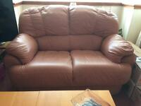 2 and 3 seater pink leather sofas
