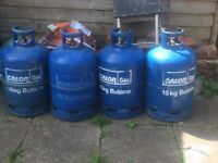 Calor Gas 15 kg Butane , 4 EMPTY bottles