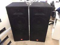 "Pair JBL JRX125 dual 15"" speakers + Matrix UKP-1300 amplifier, amp case + cables. DJ"