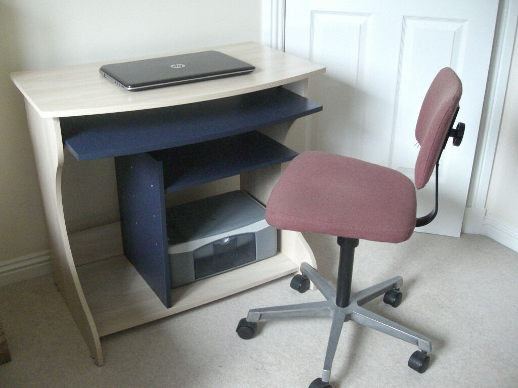 Computer Desk and Chairin Kilmarnock, East AyrshireGumtree - Computer desk (light/birch finish with blue insert shelf and keyboard tray), and chair. Ideal for a homework/ computer station for kids or students, but would also suit a wide variety of users. Compact and versatile design. Good condition....