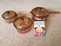 Vintage Vision by Corning Saucepans 3 piece