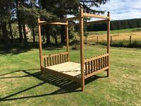 Four poster South African pine double bed