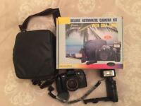 35mm Film Camera, Flash and Case