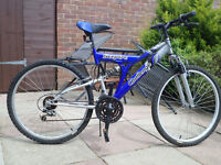 sceptre chalenge mountain bicycle with 18 gears front and rear suspention and stand 26inch wheels