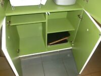 Gorgeous Habitat white shiny 2 section cupboard lime green interior multi shelves RRP£295