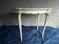 Shabby Chic White Oval Coffee Table Finished with Dark Wax with Brass Decorative Elements