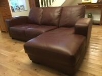 Maroon coloured full leather chaise sofa settee