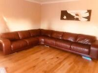 Deluxe Leather Corner Sofa & Matching Swivel Chair