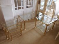 OCCASIONAL TABLE SET - NEST / SIDE / COFFEE TABLE - BRASS / BEVELED GLASS