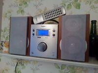Mini HiFi with DAB radio and CD player.