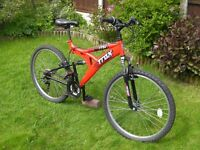 """TRAX TFS1 Front and Rear suspension Mountain bike, 26""""Alloy wheels. 19"""" lightweight frame, 18 gears"""