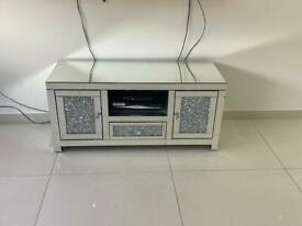 Mirror and glitter tv stand