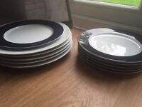 Dinner plate, white with dark blue trim