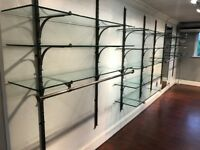 ***REDUCED*** Retail shop industrial glass shelving rail rack display units (multiple available)