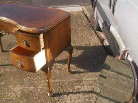 vintage 1940s wanut dressing table or desk ,just take the mirrors off the back restoration