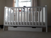 Mothercare Darlington White Cot bed and underdrawer