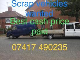 Scrap vehicles wanted cash paid today