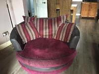Sofa and snuggle chair.