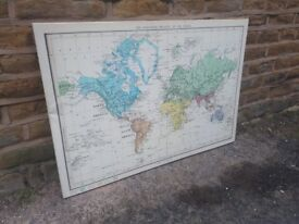 Vintage Style School Map of the Zoological Regions of the World Stretched Canvas Wall Art Large Huge