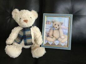 Teddy bear picture & soft toy both brand new (ideal christening gift)