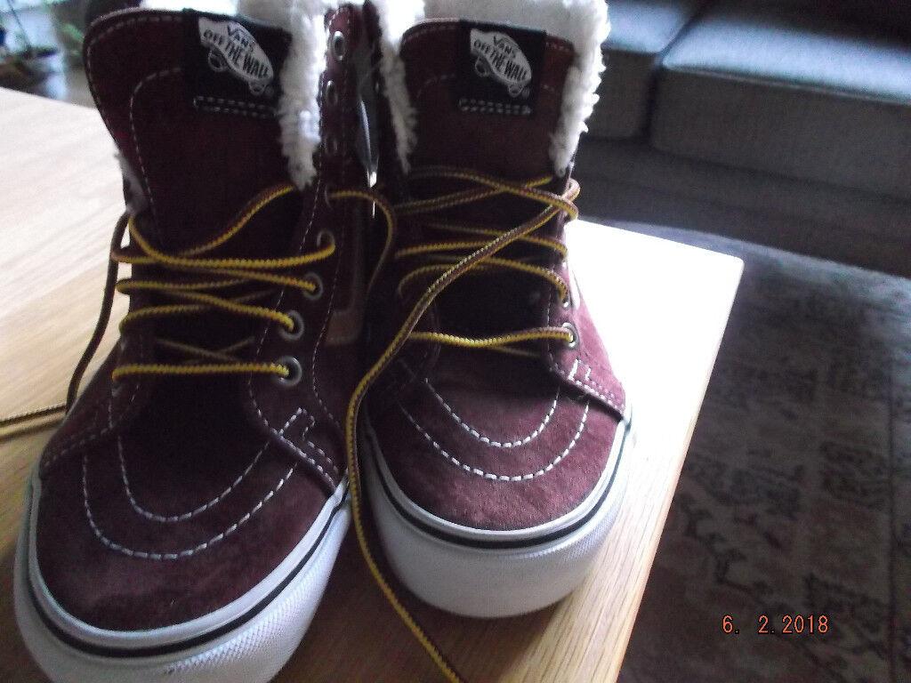 NEW Size 4 Old Skool Vans Rare High Top Burgundy  b54bfa0148f1