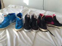 3 pairs of nike high top trainers