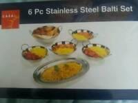 6 piece stainless steel balti set