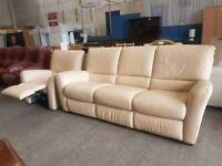 Large cream leather three seater and manual recliner