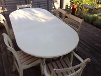 Large extending dining table & 6 chairs french country cream shabby chic, extending pedestal base