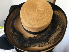 Vintage Straw Hat With Black Ribbon & Lace
